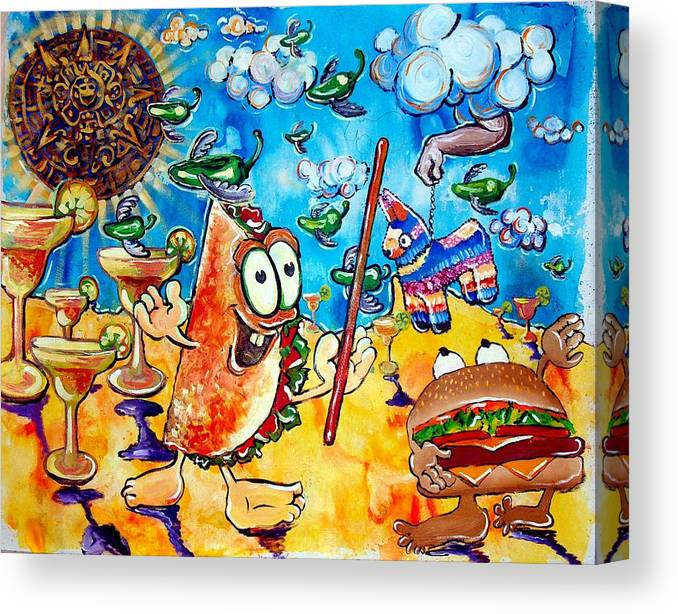 Mexican Art Canvas Print featuring the painting Birthday Party With Mister Taco And Piata by Charles Harrison Pompa