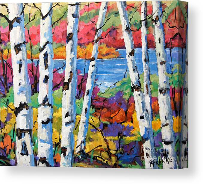 Canadian Landscape Created By Richard T Pranke Canvas Print featuring the painting Canadian Birches By Prankearts by Richard T Pranke