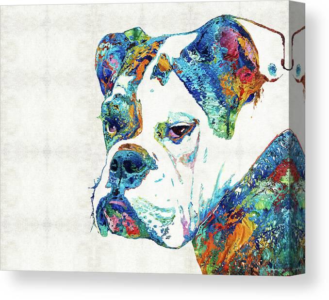 Bulldog Canvas Print featuring the painting Colorful English Bulldog Art By Sharon Cummings by Sharon Cummings
