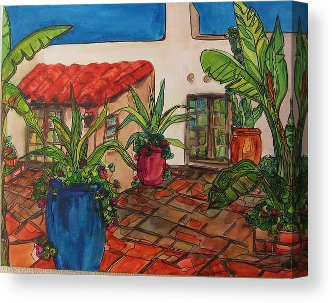 Canvas Print featuring the painting Courtyard In Rancho Santa Fe by Michelle Gonzalez
