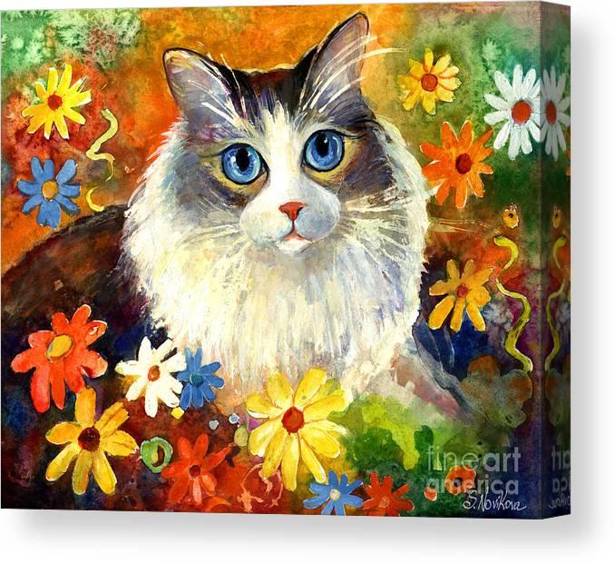 Ragdoll Cat Painting Canvas Print featuring the painting Cute Ragdoll Tubby Cat In Flowers by Svetlana Novikova
