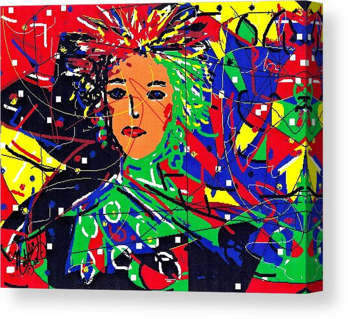 Woman Canvas Print featuring the digital art Cyberspace Goddess by Natalie Holland