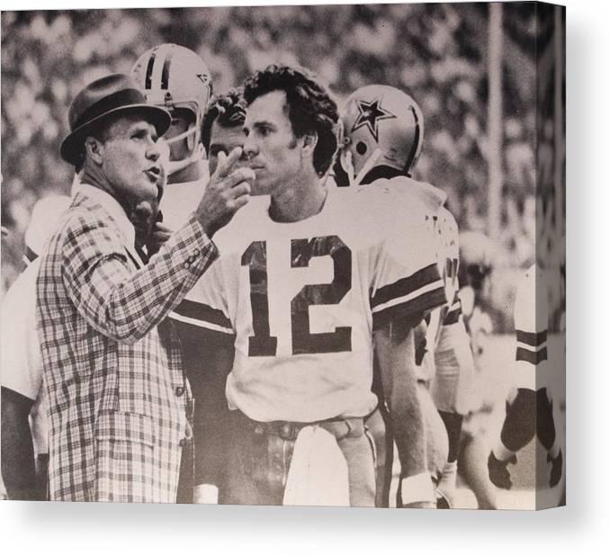 0db585209 Tom Landry Canvas Print featuring the photograph Dallas Cowboys Head Coach  Tom Landry And  12