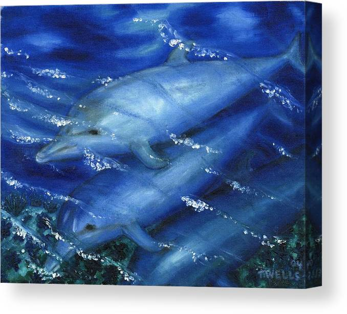 Dolphins Canvas Print featuring the painting Dolphins Swimming by Tanna Lee M Wells