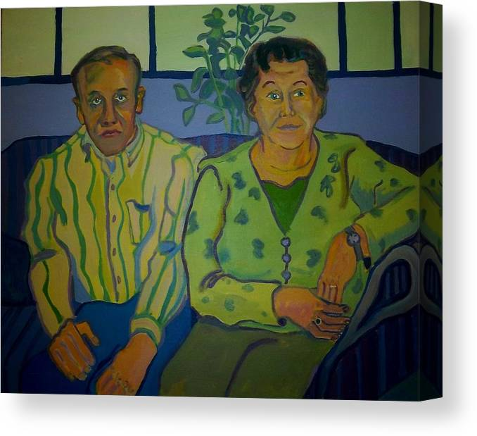 Older Couple Canvas Print featuring the painting Dottie And Jerry by Debra Bretton Robinson