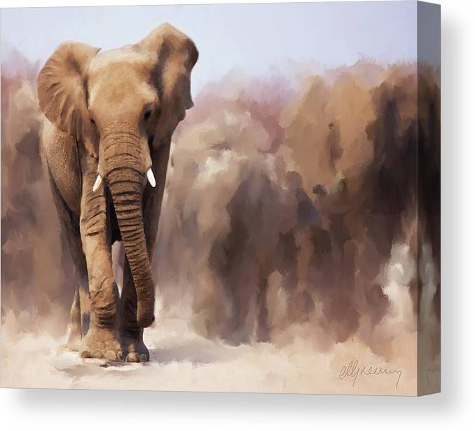 Elephant Canvas Print featuring the painting Elephant Painting by Michael Greenaway