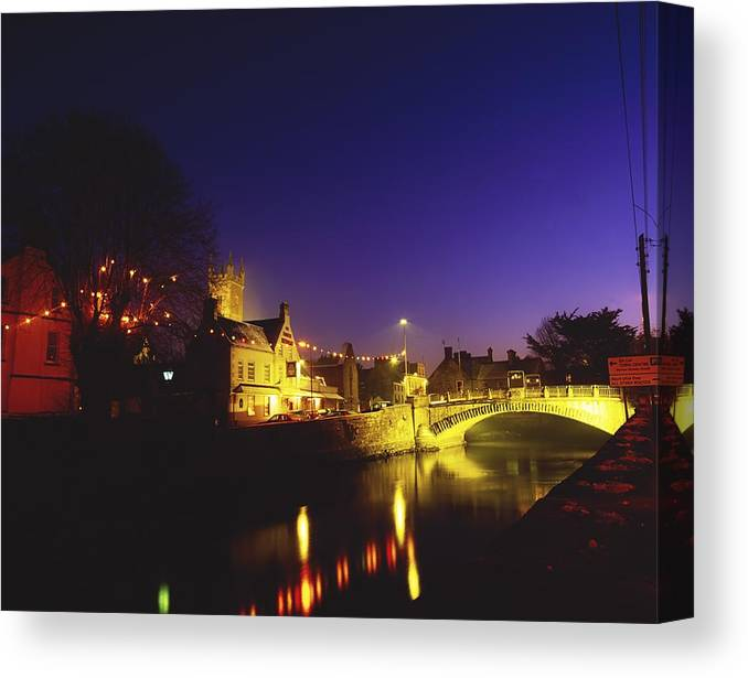 Flat Canvas Print featuring the photograph Ennis, Co Clare, Ireland Bridge Over by The Irish Image Collection