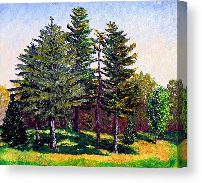 Landscape Canvas Print featuring the painting Garfield Trees by Stan Hamilton