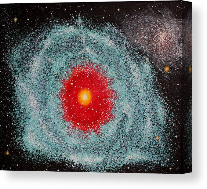 Outer Space Nebula Canvas Print featuring the painting Helix Nebula by Georgeta Blanaru
