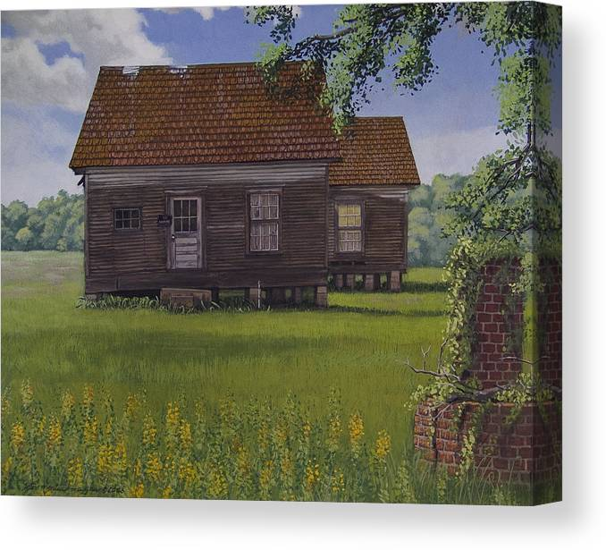 Landscape Canvas Print featuring the painting Historical Warrenton Farm House by Peter Muzyka