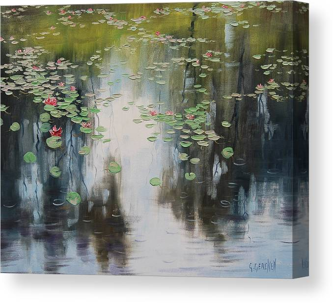 Lily Pond Canvas Print featuring the painting lily Pond by Graham Gercken
