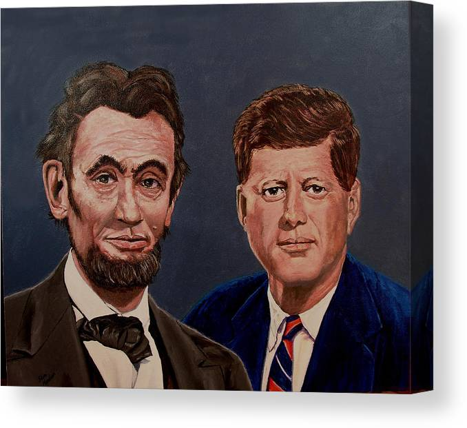 Lincoln Canvas Print featuring the painting Lincoln And Kennedy by Stan Hamilton