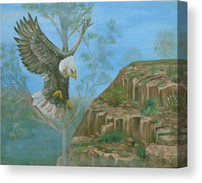 Eagle Canvas Print featuring the painting Majestic Warrior by Mikki Alhart