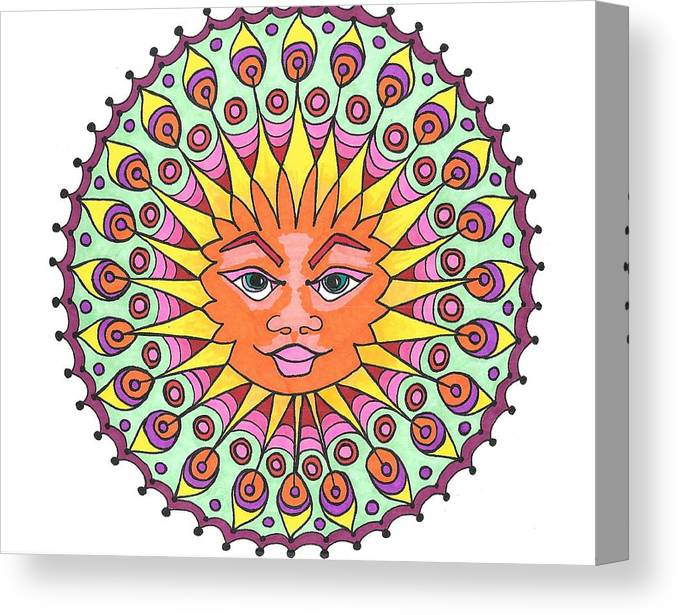 Peacock Feathers Canvas Print featuring the drawing Peacock Sunburst by Roberta Dunn