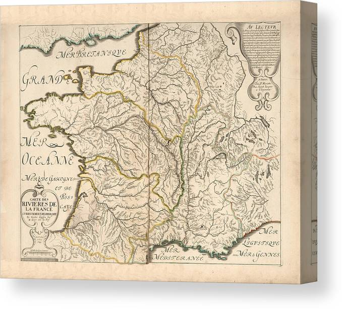 Map Of The Rivers Of France Historic Map Of France Antique Maps