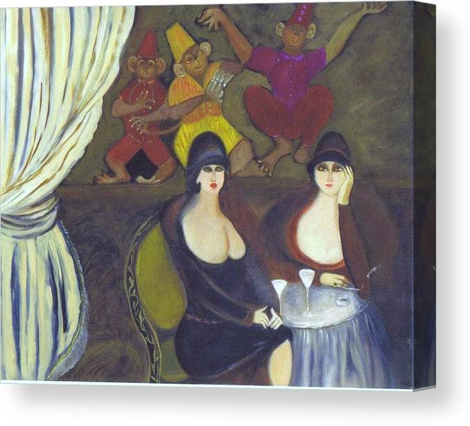 Female Subjects Canvas Print featuring the painting martinis at Le Cirque by Susan Kaufman