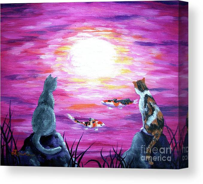Zen Canvas Print featuring the painting Moonlight On Pink Water by Laura Iverson