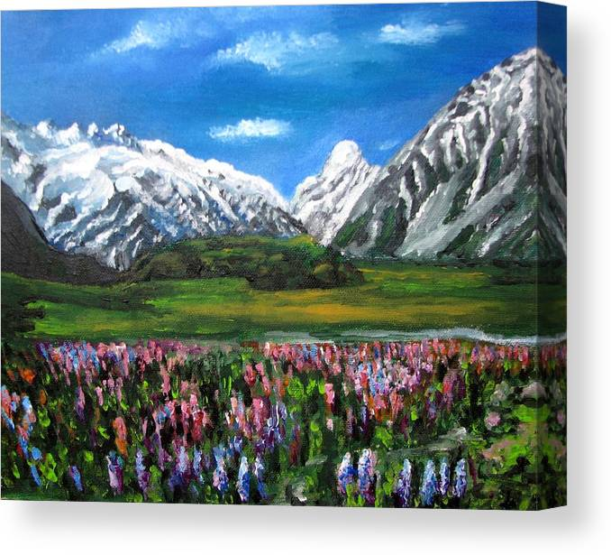 Mountains Landscape Canvas Print featuring the painting Mountains Landscape Acrylic Painting by Natalja Picugina