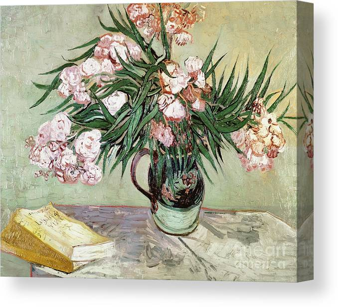 Vincent Van Gogh Canvas Print featuring the painting Oleanders And Books by Vincent van Gogh