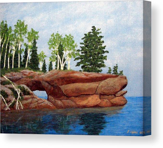 Landscape Paintings Canvas Print featuring the painting Sea Cave by Frederic Kohli