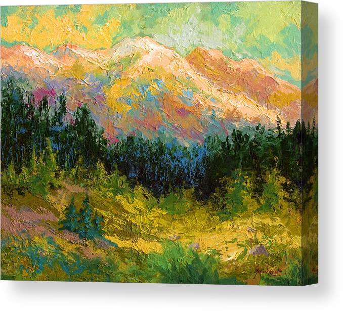 Alaska Canvas Print featuring the painting Summer High Country by Marion Rose