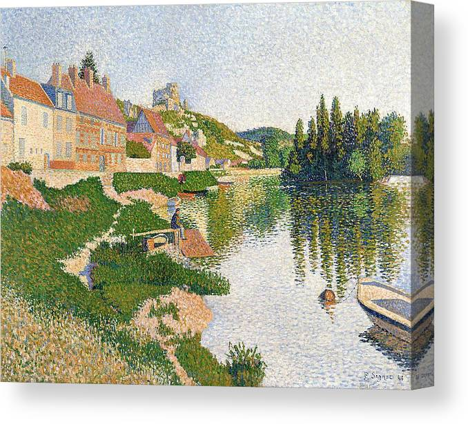 The Canvas Print featuring the painting The River Bank by Paul Signac