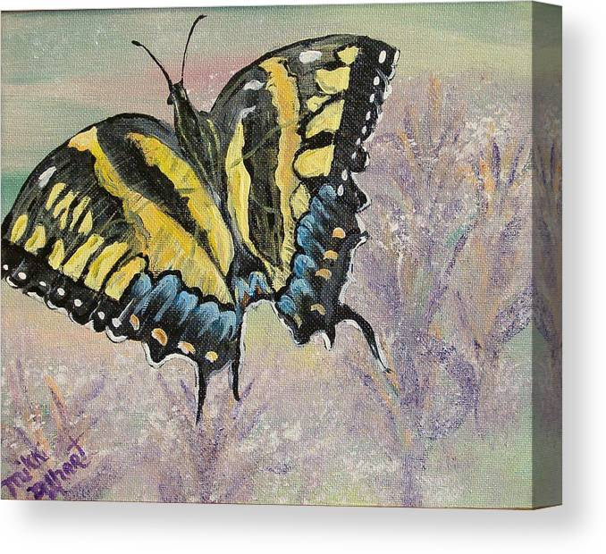 Butterfly Canvas Print featuring the painting Tiger Swallowtail by Mikki Alhart