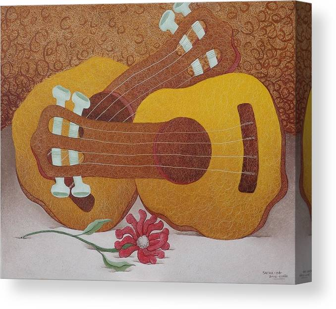 Sacha Circulism Circulismo Toothpicks Painting Canvas Print featuring the painting Two Guitars by S A C H A - Circulism Technique