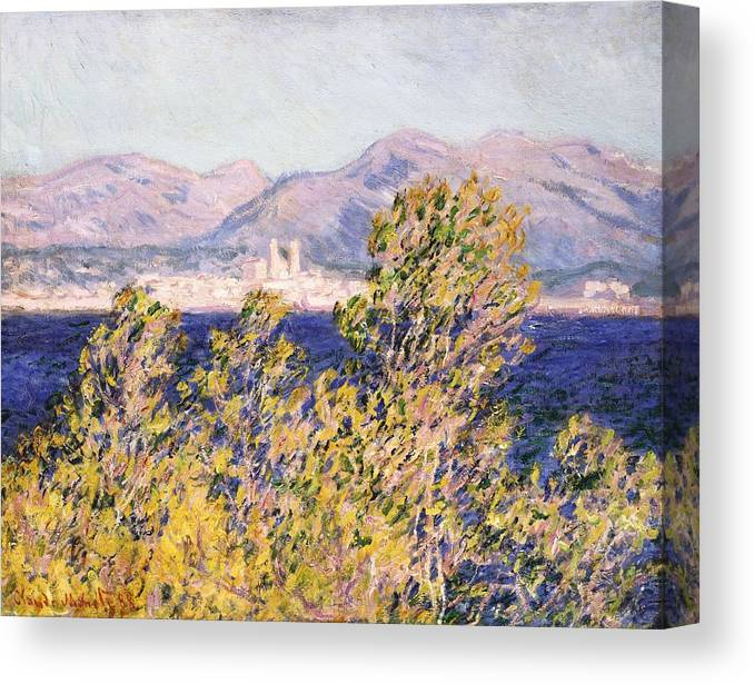 Impressionism; Impressionist; Landscape; Tree; Mountain; Wind; Sea; Ocean; Coast; Mediterranean; Cape; Gorse; Breeze; View Of The Cap D'antibes With The Mistral Blowing Canvas Print featuring the painting View Of The Cap Dantibes With The Mistral Blowing by Claude Monet