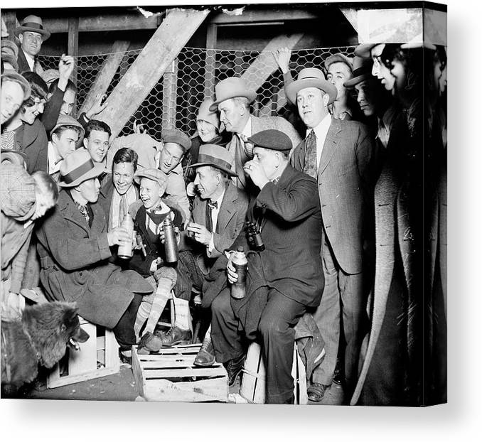 Child Canvas Print featuring the photograph People Waiting To Enter 1929 World by Chicago History Museum