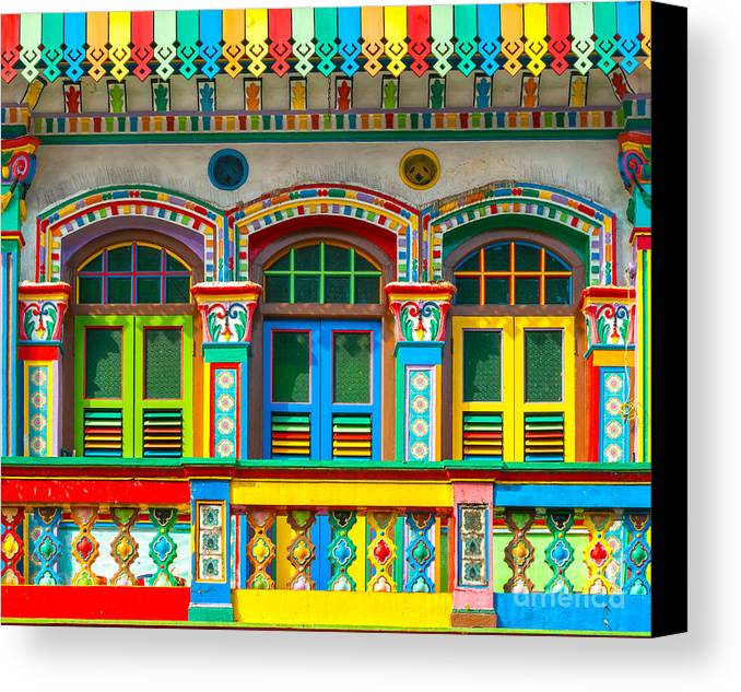 Marina Canvas Print featuring the photograph Little India - Singapore by Luciano Mortula