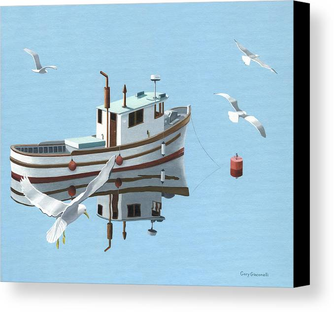 Boat Canvas Print featuring the painting A Contemplation Of Seagulls by Gary Giacomelli