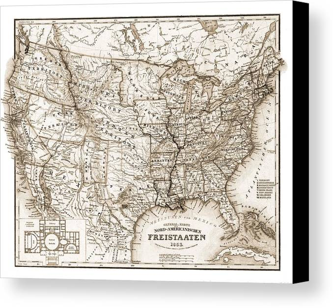 Antique Map 1853 United States Of America Canvas Print featuring the photograph Antique Map 1853 United States Of America by Dan Sproul