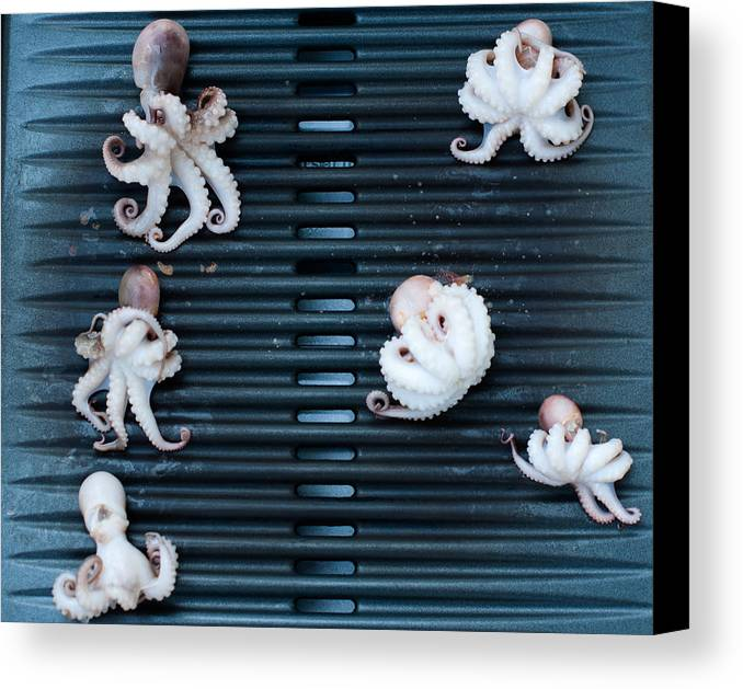 Moscardini Canvas Print featuring the photograph Baby Octopus - Moscardini - On Bbq by Frank Gaertner