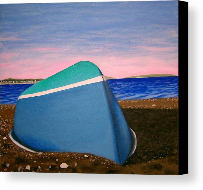 Boat Canvas Print featuring the painting Beached by Liz Boston