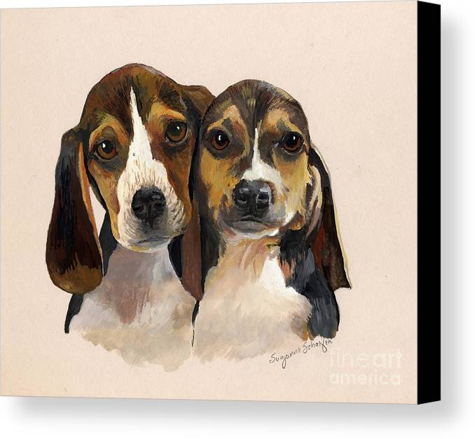 Dogs Canvas Print featuring the painting Beagle Babies by Suzanne Schaefer