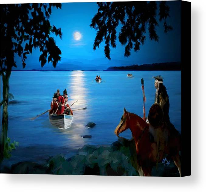 Mackinac Island Canvas Print featuring the painting By Cover Of Night by Yvonne Della-Moretta