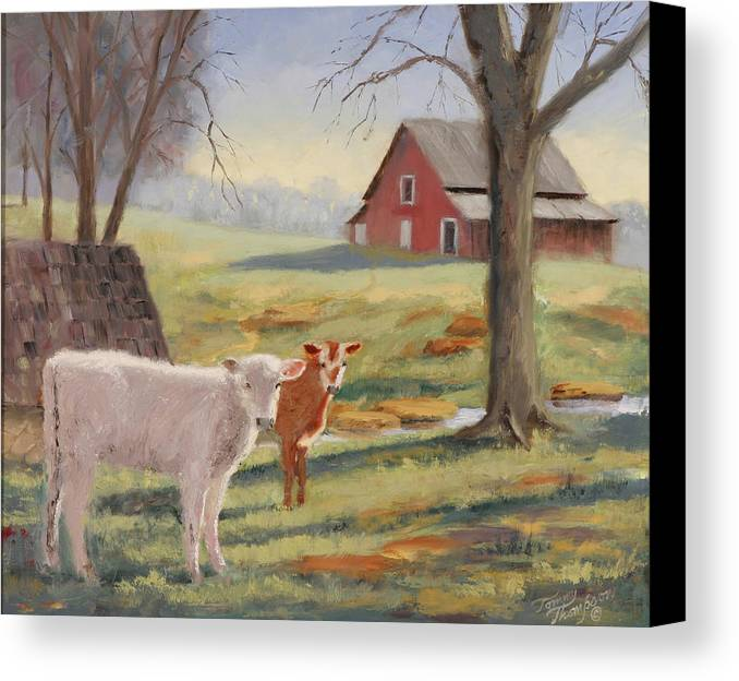 Landscape Canvas Print featuring the painting Calves At The Spring House by Tommy Thompson