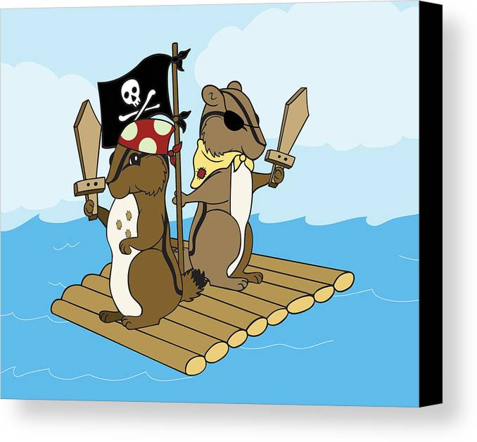 Chipmunk Canvas Print featuring the digital art Chipmunk Pirate Dash And Scoot by Christy Beckwith