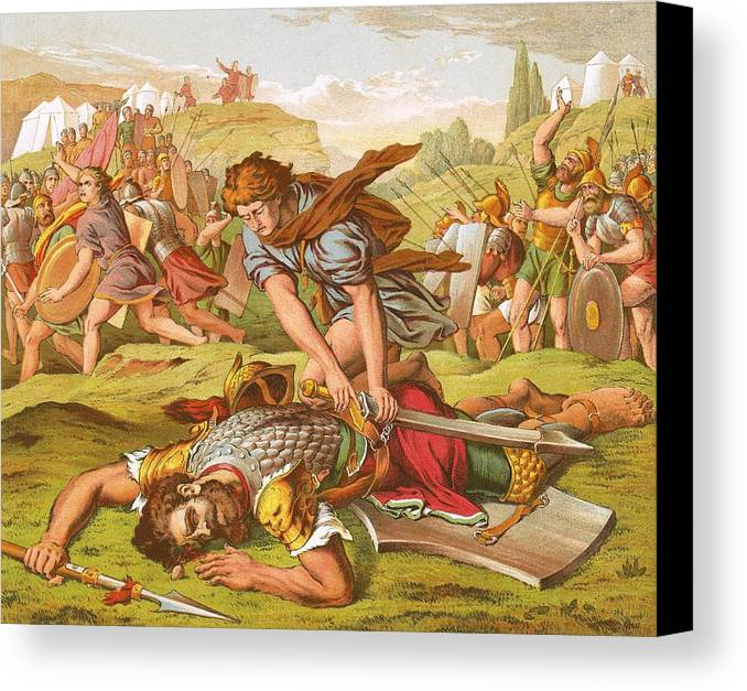 Bible Canvas Print featuring the painting David Slaying The Giant Goliath by English School