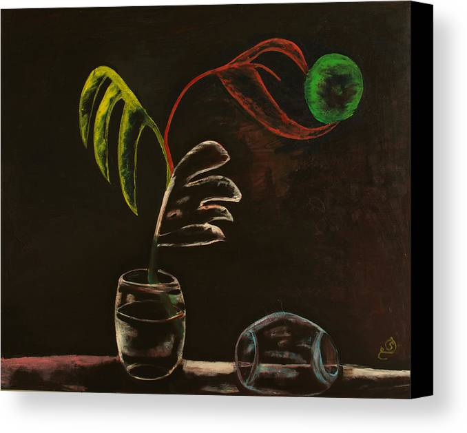 Transparent.a.j.h.b.v.x.e.q.p.o.glass.black.dark.painting.art. Canvas Print featuring the painting Different P.o.v by Hijazyart Hijazyart
