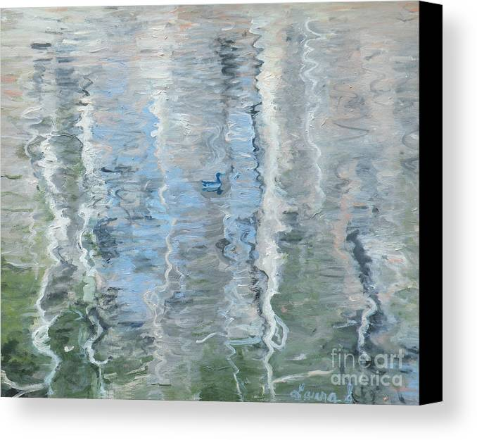 Ripples Canvas Print featuring the painting Duck On Pond, Abstract by Laura Sullivan