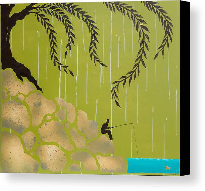 Emily Brantley Canvas Print featuring the painting Fisherman by Emily Brantley