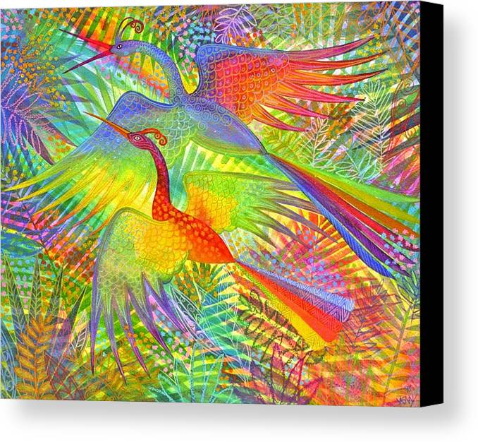 Exotic Birds Rain Forest Rainbow Colours Jungle Tropical Canvas Print featuring the painting Flight Of Colour And Bliss by Jennifer Baird