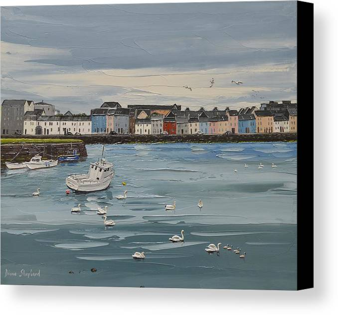 Seascape Canvas Print featuring the painting Galway Swans Galway Ireland by Diana Shephard
