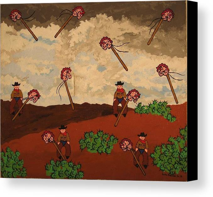 Cowboy Canvas Print featuring the painting Ghost Riders by Erika Chamberlin