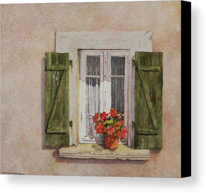 Watercolor Canvas Print featuring the painting Irvillac Window by Mary Ellen Mueller Legault