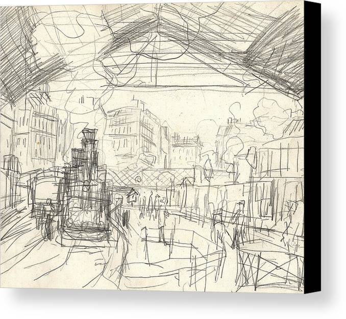 French Canvas Print featuring the drawing La Gare Saint Lazare by Claude Monet