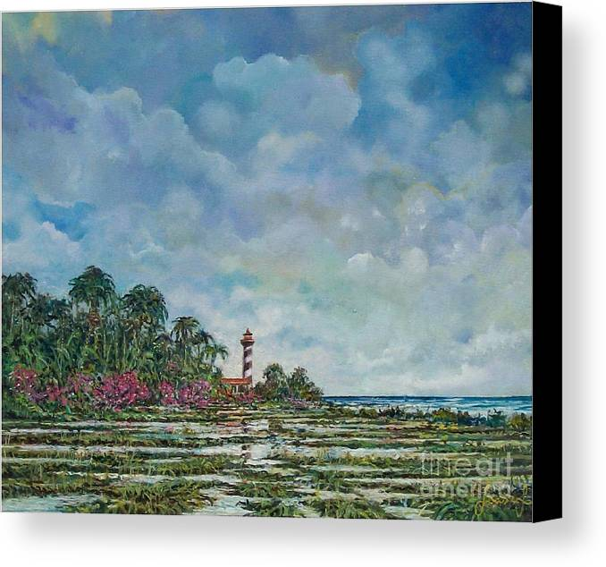 Nature Canvas Print featuring the painting Lighthouse by Sinisa Saratlic