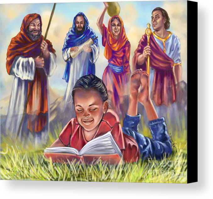 Christian Art Canvas Print featuring the digital art Living Bible by Tamer and Cindy Elsharouni